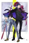 2boys alternate_costume beads bent_over blooming_yuki blue_hair bouquet bracelet cane cigarette closed_mouth coat cu_chulainn_(fate)_(all) cu_chulainn_(fate/grand_order) cu_chulainn_alter_(fate/grand_order) dark_blue_hair dark_persona dress_shoes earrings facepaint fate/grand_order fate_(series) fedora floating_hair flower full_body gae_bolg gloves hair_beads hair_ornament hat hat_removed headwear_removed heroic_spirit_formal_dress highres holding holding_polearm holding_weapon jacket jewelry long_hair long_sleeves looking_at_viewer male_focus multiple_boys multiple_persona multiple_piercings necktie overcoat pants polearm ponytail red_eyes rose smoking spiky_hair standing type-moon vest weapon