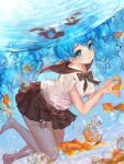 1girl air_bubble animal bangs bare_legs barefoot black_bow black_sailor_collar blue_eyes blue_hair blush bottle_miku bow breasts bubble closed_mouth diving fish goldfish hatsune_miku liby_(libtnvd) liquid_hair long_hair looking_at_viewer medium_breasts own_hands_together sailor_collar school_uniform see-through serafuku shirt short_sleeves solo twintails underwater very_long_hair vocaloid water wet wet_clothes wet_shirt white_shirt