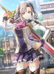 1girl aurelia_le_guin blue_sky boots breasts building cherry_blossoms collared_shirt cross-laced_footwear day eiyuu_densetsu eyebrows_visible_through_hair greatsword hajimari_no_kiseki hand_on_hip holding holding_sword holding_weapon lace-up_boots large_breasts looking_at_viewer military school_uniform shirt silver_hair skirt sky smile sword sword_behind_back thigh-highs twintails violet_eyes weapon younger