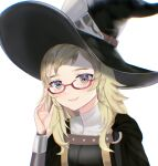 1girl absurdres arm_up bangs blonde_hair blue_eyes closed_mouth commission commissioner_upload cosplay fire_emblem fire_emblem_awakening fire_emblem_fates glasses hand_on_eyewear hat highres looking_at_viewer miriel_(fire_emblem) miriel_(fire_emblem)_(cosplay) nolepsantuy ophelia_(fire_emblem) solo upper_body witch_hat