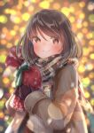 1girl absurdres arms_up bag bangs blurry blurry_background blush bokeh brown_coat brown_eyes brown_gloves brown_hair christmas christmas_lights coat commentary_request depth_of_field enpera eyebrows_visible_through_hair fumizuki_lily gift_bag gloves highres holding holding_bag looking_at_viewer open_clothes open_coat original plaid plaid_scarf ribbon scarf short_hair smile snowflake_print solo standing striped striped_ribbon sweater swept_bangs upper_body white_sweater