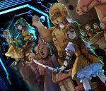 2girls ankle_lace-up apron arm_ribbon armor army bangs between_fingers blonde_hair blue_hair blue_ribbon chisel chromatic_aberration circuit cross-laced_footwear damaged double_bun dress frilled_apron frills glowing green_apron green_eyes green_headwear green_hood hair_ribbon haniwa_(statue) haniyasushin_keiki head_scarf hexagon highres holding holding_sheath holding_sword holding_weapon honeycomb_(pattern) jewelry joutouguu_mayumi kaigen_1025 multiple_girls necklace puffy_short_sleeves puffy_shorts puffy_sleeves red_ribbon ribbon science_fiction sheath shirt short_sleeves shorts sitting sleeves_past_elbows statue sword touhou unsheathed weapon white_ribbon white_shirt white_shorts wood_carving_tool yellow_dress