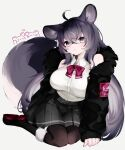1girl animal_ear_fluff animal_ears black_skirt blush bow breasts chinchilla_ears chinchilla_girl collared_shirt cowlick fur_coat fur_trim grey_eyes grey_hair hair_ornament hairclip highres kairi630 large_breasts looking_at_viewer original red_bow shirt sitting skirt sleeveless sleeveless_shirt solo tail