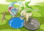apios1 arrow_(symbol) bag black_eyes book brown_eyes brown_sclera celebi commentary day full_body gen_1_pokemon gen_2_pokemon gen_4_pokemon grass green_theme highres leafeon legendary_pokemon looking_down manhole manhole_cover mythical_pokemon no_humans outdoors poke_ball_symbol poke_ball_theme pokemon pokemon_(creature) sign vaporeon water