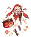 1girl ;d ahoge arms_up artist_name backpack bag bag_charm blonde_hair boots brown_footwear brown_gloves charm_(object) dated feathers flat_chest full_body genshin_impact gloves hat hattori_masaki highres jumpy_dumpty klee_(genshin_impact) looking_at_viewer low_twintails one_eye_closed open_mouth pointy_ears randoseru red_eyes red_headwear simple_background smile standing stuffed_animal stuffed_toy thigh_strap twintails white_background