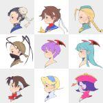 6+girls bangs black_eyes black_hair blonde_hair blue_eyes blue_hair blue_sailor_collar blue_skin bow braid breath_of_fire breath_of_fire_iv brown_hair bun_cover cammy_white capcom chun-li colored_skin company_connection crossover demon_girl from_side hat head_wings headband highres ibuki_(street_fighter) jiangshi kasugano_sakura lei_lei lilith_aensland long_hair morrigan_aensland multiple_crossover multiple_girls nina_(breath_of_fire_iv) portrait profile purple_hair red_bow red_eyes red_neckwear rival_schools sailor_collar scar short_hair street_fighter succubus vampire_(game) wakaba_hinata yellow_neckwear yui35