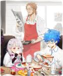 1girl 2boys apron bacon bags_under_eyes baguette beard blue_eyes blue_hair body_markings bottle bow braid bread bread_slice breakfast broccoli brown_hair buster_shirt butter butter_knife cereal cereal_box cheese child_drawing cup doll_joints drinking egg eyebrows_behind_hair facial_hair fate_(series) food fork fried_egg fruit frying_pan glasses hair_bow hair_ornament hairclip hans_christian_andersen_(fate) hat hat_removed hat_ribbon headwear_removed holding holding_food holding_frying_pan jam jar joints milk milk_bottle mug multiple_boys mushroom mustache newspaper nonockha notebook nursery_rhyme_(fate/extra) orange_juice pitcher placemat plate pocket ribbon sausage semi-rimless_eyewear sitting sleeves_rolled_up standing steam strawberry syrup toast tomato tray violet_eyes white_hair william_shakespeare_(fate)