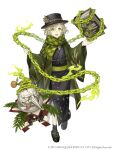 1boy :d black_legwear book chain eyebrows_visible_through_hair full_body green_eyes green_hair hat highres japanese_clothes ji_no kimono long_nose looking_at_viewer official_art open_mouth pinocchio_(sinoalice) platform_footwear sandals scarf sinoalice smile solo square_enix tongue tongue_out upper_teeth white_background wide_sleeves