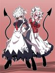 2girls alternate_costume apron back_bow black_dress black_footwear black_horns black_neckwear black_tail blush boots bow breasts clothes_writing commentary_request demon_girl demon_horns demon_tail dress english_text enmaided eyebrows_visible_through_hair heart heart-shaped_pupils helltaker highres horns jin_(mugenjin) large_breasts looking_at_viewer lucifer_(helltaker) maid maid_apron maid_headdress modeus_(helltaker) mole mole_under_eye multiple_girls neck_ribbon necktie red_neckwear red_shirt ribbon shirt symbol-shaped_pupils tail white_apron white_hair white_horns wrist_cuffs