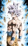 1boy abs arms_at_sides aura clenched_hands commentary_request dark_background dirty dirty_clothes dirty_face dragon_ball dragon_ball_super expressionless floating_rock frown grey_eyes highres looking_at_viewer male_focus muscular orange_pants pants pectorals rock serious shirt shirtless silver_hair simple_background son_goku spiky_hair standing torn_clothes torn_shirt ultra_instinct upper_body wristband youngjijii