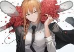 1girl arm_up black_neckwear braid braided_ponytail breasts business_suit chainsaw chainsaw_man commentary eyebrows_visible_through_hair flower formal gompang hair_up looking_at_viewer makima_(chainsaw_man) medium_breasts necktie off_shoulder orange_hair petals red_flower red_rose rose shirt sidelocks simple_background smile solo string string_of_fate suit upper_body white_background white_shirt yellow_eyes