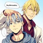 ... 2boys bangs blonde_hair blue_background blue_eyes blue_hair blue_hoodie buttons casual collarbone commentary_request dress_shirt ear_piercing english_text formal gradient gradient_background green_eyes hair_between_eyes halftone hand_on_another's_head hood hood_down hoodie jacket kuroko_no_basuke kuroko_tetsuya long_sleeves looking_at_another male_focus mashima_shima multiple_boys nash_gold_jr. piercing red_shirt shirt short_hair smirk speech_bubble spoken_ellipsis suit sweatdrop twitter_username upper_body white_jacket white_suit