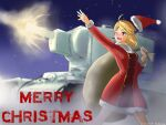 1girl artist_request blonde_hair blush breasts caterpillar_tracks christmas dated english_commentary english_text gift_bag ground_vehicle hat kv-2 merry_christmas military military_vehicle motor_vehicle night night_sky one_eye_closed original red_eyes short_hair sky snow snowing solo tank