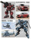 aircraft autobot blue_eyes car character_name claws cliffjumper ground_vehicle gun hand_on_hip helicopter holding holding_gun holding_weapon horns looking_to_the_side mecha mini_cooper mini_cooper_countryman motor_vehicle no_humans one-eyed redesign reference_photo_inset theamazingspino transformers weapon whirl yellow_eyes