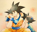 2boys ^_^ beige_background black_hair chinese_clothes closed_eyes dougi dragon_ball dragon_ball_z elbow_rest facing_away facing_viewer father_and_son fingernails hand_on_another's_head head_rest highres laughing light_blush male_focus mattari_illust multiple_boys open_mouth pectorals petting profile simple_background son_goku son_goten spiky_hair wide_sleeves wristband
