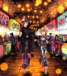 4girls 6+boys ahoge aki_minoriko alternate_hairstyle black_hair black_kimono blonde_hair blue_hair blurry bokeh braid candy_apple closed_eyes commentary commission depth_of_field festival food food_stand fox_mask geta hair_bun hat highres hijiri_myouren holding holding_food holding_hands japanese_clothes kamen_rider kimono kirisame_marisa lantern mask mask_on_head mob_cap multiple_boys multiple_girls muscular muscular_male night obi open_mouth outdoors paper_lantern ponytail purple_kimono red_kimono sash single_braid smile standing standing_on_one_leg star_(symbol) star_print stone_walkway sunyup sweet_potato tabi touhou