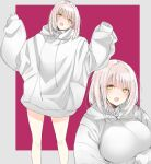 1girl bangs blush bottomless breasts fangs green_eyes highres hood hood_down hoodie jacket large_breasts long_sleeves nekoume open_mouth original oversized_clothes pink_hair short_hair simple_background sleeves_past_wrists two-tone_background