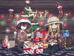 2girls :d aran_sweater bangs beehive beekeeping_hat black_hair black_pants black_skirt blind_girl_(popopoka) blonde_hair blue_eyes brown_sweater bully_girl_(popopoka) candy candy_cane christmas christmas_ornaments christmas_stocking christmas_tree closed_eyes closed_mouth commentary crossed_bangs english_commentary food freckles gloves grey_legwear hat highres holding kneeling long_sleeves milestone_celebration multiple_girls neck_ribbon open_mouth original pants pantyhose popopoka red_neckwear red_ribbon ribbon santa_hat seiza shampoo_bottle shoes sitting skirt smile soap_bottle striped striped_legwear sweater thank_you white_gloves