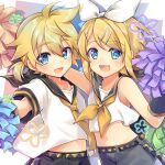 1boy 1girl arm_around_shoulder arm_warmers bangs bare_shoulders black_collar black_shorts blonde_hair blue_eyes bow brother_and_sister collar commentary_request crop_top date_pun good_twins_day hair_bow hair_ornament hairclip holding holding_pom_poms kagamine_len kagamine_rin leeannpippisum looking_at_viewer midriff navel neckerchief necktie number_pun open_mouth pom_poms sailor_collar school_uniform shirt short_hair short_ponytail short_sleeves shorts siblings side-by-side sleeveless sleeveless_shirt smile spiky_hair swept_bangs twins upper_body vocaloid white_bow white_shirt yellow_neckwear
