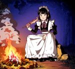 1girl apron black_hair bonfire bow campfire dirty dirty_clothes eating fire fish full_body juliet_sleeves long_sleeves maid maid_headdress night on_rock original outdoors puffy_sleeves rock sitting skewer smoke solo suzushiro_(suzushiro333) wrist_cuffs
