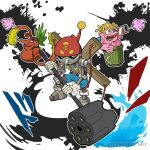 artist_name belt blue_eyes blue_shorts cable digimon digimon_adventure english_text firing gerbemon hammer hat highres holding holding_hammer holding_weapon inkblot looking_at_viewer monster no_humans open_mouth paint_splatter pinochimon poop red_eyes red_headwear redvegimon sharp_teeth shorts skull_print smile sound_effects splatter_background suspenders teeth throwing tongue trash_can watermark weapon yeo_yee_heng