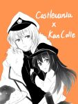 1boy 1girl admiral_(kantai_collection) admiral_(kantai_collection)_(cosplay) akatsuki_(kantai_collection) anchor_symbol bf_25lan black_hair black_shirt castlevania castlevania:_aria_of_sorrow coat copyright_name cosplay curry flat_cap food fur-trimmed_coat fur_trim grin hand_on_another's_chest hat kantai_collection long_hair looking_at_viewer military_hat orange_background pale_skin school_uniform serafuku shirt smile soma_cruz spot_color trench_coat white_coat white_hair