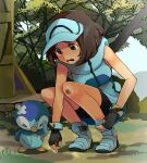 1girl ace_trainer_(pokemon) bandaid bandaid_on_head black_gloves blue_footwear blue_headwear brown_hair day fingerless_gloves full_body gen_4_pokemon gloves graphite_(medium) hijirino_yuuta outdoors piplup pokemon pokemon_(creature) short_hair sleeveless solo squatting starter_pokemon tearing_up traditional_media visor_cap wristband