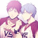 2boys akashi_seijuurou bangs basketball_uniform blue_eyes blue_hair closed_mouth clothes_writing collarbone commentary_request fingernails grey_background hair_between_eyes kuroko_no_basuke kuroko_tetsuya lens_flare looking_to_the_side male_focus mashima_shima multiple_boys parted_lips pointing pointing_to_the_side red_eyes redhead serious shirt short_hair simple_background sleeveless sleeveless_shirt sportswear sweatband twitter_username upper_body white_shirt