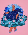 1girl artist_name big_hair black_eyes blue_footwear cloud_hair crescent dark_skin dress floral_print flower full_body holding holding_clothes holding_dress leaf looking_at_viewer meyoco original pink_background pink_flower print_dress shoes simple_background solo sparkle standing star_(symbol)