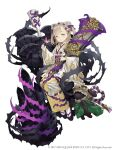 blonde_hair briar_rose_(sinoalice) eyebrows_visible_through_hair floral_print full_body half-closed_eyes highres japanese_clothes ji_no kimono looking_at_viewer official_art platform_footwear sandals sash sinoalice sitting solo square_enix stuffed_toy thorns white_background wide_sleeves yellow_eyes