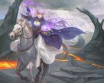 1girl absurdly_long_hair cloak clouds cloudy_sky commission commissioner_upload dress expressionless fire_emblem fire_emblem:_the_binding_blade hair_blowing highres horse long_hair magic molten_rock open_mouth picnicic purple_hair serious sky sophia_(fire_emblem) very_long_hair violet_eyes