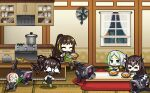 5girls :3 alternate_costume alternate_hairstyle apron bangs black_hair black_jacket black_legwear black_skirt blonde_hair blush_stickers brown_hair chibi closed_eyes curry dinergate_(girls_frontline) eating english_commentary executioner_(girls_frontline) fan food full_body girls_frontline gloves green_eyes green_hair green_legwear gun hair_between_eyes headgear headphones highres holding hunter_(girls_frontline) indoors jacket kitchen kotatsu long_hair long_sleeves m4_sopmod_ii_jr m4a1_(girls_frontline) multicolored_hair multiple_girls night o_o open_mouth ponytail redhead robot running sangvis_ferri scarecrow_(girls_frontline) shirt sitting skirt smile soup_ladle spring_onion standing streaked_hair table the_mad_mimic toaster twintails weapon white_hair white_shirt