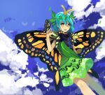 1girl :d antennae aqua_hair bangs black_capelet blue_sky bug butterfly butterfly_on_hand butterfly_wings capelet clouds commentary_request dress eternity_larva eyebrows_visible_through_hair feet_out_of_frame green_dress hair_between_eyes hair_ornament highres insect kaigen_1025 kariyushi_shirt leaf leaf_hair_ornament leaf_on_head leaning_to_the_side looking_at_viewer multicolored multicolored_clothes multicolored_dress open_mouth orange_eyes short_dress short_hair short_sleeves sidelocks sky smile solo touhou turtleneck wings yellow_butterfly yellow_wings
