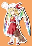 1girl :t =3 ascot blonde_hair blush bobby_socks center_frills choker closed_mouth crystal cuff_links dress_shirt flandre_scarlet frilled_cuffs frilled_shirt frilled_shirt_collar frilled_skirt frills full_body hair_between_eyes hat hat_ribbon highres holding holding_stuffed_toy inuno_rakugaki looking_at_viewer medium_hair mob_cap one_side_up outline pout puffy_short_sleeves puffy_sleeves red_choker red_footwear red_ribbon red_skirt red_vest ribbon ribbon-trimmed_collar ribbon-trimmed_legwear ribbon_trim shirt short_hair short_sleeves skirt skirt_set socks solo speech_bubble standing stuffed_animal stuffed_toy teddy_bear touhou vest white_headwear white_legwear white_shirt wings wrist_cuffs yellow_neckwear