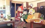3girls amano_pikamee antennae arm_up bangs black_hair black_shorts blonde_hair blunt_bangs blush_stickers calendar_(object) chopsticks clock closed_eyes commentary controller couch cup discord doughnut fiery_hair food game_controller green_hoodie green_shorts gyari_(imagesdawn) hair_ornament hairband hamburger hand_on_another's_shoulder highres hikasa_tomoshika holding holding_controller holding_game_controller hood hoodie indoors jacket jitomi_monoe magnet medium_hair multiple_girls night orange_shirt pants plant plate potted_plant red_jacket red_pants redhead room shadow shelf shirt short_hair shorts slippers smile soda_bottle steam_(platform) thick_eyebrows track_jacket track_pants v-shaped_eyebrows voms wall_clock white_shirt zipper_pull_tab