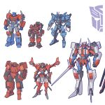 1girl 5boys autobot blue_eyes claws clenched_hand cliffjumper english_commentary holding holding_sword holding_weapon horns insignia multiple_boys one-eyed optimus_prime redesign standing star_saber_(transformers) sword theamazingspino transformers transformers_victory warpath weapon whirl windblade yellow_eyes