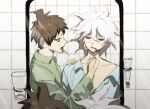 2boys ahoge bangs blue_pajamas brown_eyes brown_hair brushing_another's_teeth brushing_teeth closed_eyes collarbone collared_shirt commentary_request doggye_(zginrwsn) dress_shirt from_side glass green_pajamas green_shirt hair_between_eyes hinata_hajime komaeda_nagito looking_at_another lower_teeth male_focus medium_hair messy_hair mirror multiple_boys open_mouth pajamas profile shirt short_hair sketch sleepy super_danganronpa_2 upper_body