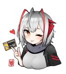 1girl ;p antennae arknights bangs black_jacket black_scarf demon_horns grey_hair grey_shirt heart horns jacket junsuina_fujunbutsu light_blush one_eye_closed open_clothes open_jacket red_eyes scarf shirt short_hair signature simple_background smile solo tongue tongue_out upper_body w_(arknights) white_background
