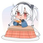 1girl absurdres chibi dark_skin dark_skinned_female food fruit full_body glasses hair_between_eyes happi highres japanese_clothes kantai_collection kotatsu looking_at_viewer mandarin_orange musashi_(kantai_collection) red_eyes short_hair_with_long_locks simple_background solo table triangle_mouth twintails white_background yunamaro