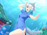 1girl ;d absurdres air_bubble alternate_costume architecture arm_up bangs blowhole blue_dress blue_eyes blue_hair bubble china_dress chinese_clothes commentary common_bottlenose_dolphin_(kemono_friends) dolphin_tail dorsal_fin dress east_asian_architecture fish gradient_hair grey_hair head_fins highres kemono_friends looking_at_viewer medium_hair multicolored_hair one_eye_closed open_mouth outstretched_arm seaweed shiraha_maru short_sleeves side_slit smile solo tail underwater white_hair