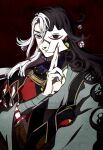 1boy ashiya_douman_(fate) asymmetrical_clothes asymmetrical_hair bell black_eyes black_hair curly_hair earrings fate/grand_order fate_(series) fingernails green_eyeshadow green_kimono green_nails hair_bell hair_between_eyes hair_intakes hair_ornament hand_up highres japanese_clothes jewelry kimono long_hair magatama magatama_earrings male_focus manimo_(1232manimo) multicolored_hair open_clothes open_kimono ribbed_sleeves sharp_fingernails shikigami simple_background smile solo two-tone_hair upper_body very_long_hair white_hair