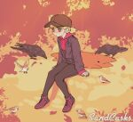 1girl absurdres artist_name baseball_cap bird biting black_nail_polish blonde_hair character_request crow cute_dog_(sandcasks) dog hat highres hood hoodie jacket knees_together_feet_apart lying on_stomach original pecking red_eyes sandcasks short_hair short_ponytail sitting sleeves_past_wrists sparrow