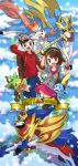1boy 1girl :d :o backpack bag blue_sky brown_hair clouds cloudy_sky commentary_request creature day dog english_commentary english_text enishi_(menkura-rin10) gen_8_pokemon gloria_(pokemon) grookey hat highres holding holding_poke_ball legendary_pokemon looking_at_viewer monkey one_eye_closed open_mouth outdoors poke_ball poke_ball_(basic) pokemon pokemon_(creature) pokemon_(game) pokemon_swsh rabbit scorbunny sky smile sobble victor_(pokemon) zacian zacian_(crowned) zamazenta zamazenta_(crowned)