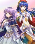 2girls :d belly_chain blue_dress cloak dress elbow_gloves expressionless fire_emblem fire_emblem:_the_binding_blade gloves hand_on_own_chest highres interlocked_fingers jewelry kakiko210 lavender_dress light_particles lilina_(fire_emblem) long_hair long_sleeves looking_at_viewer multiple_girls open_mouth purple_cloak purple_hair simple_background smile sophia_(fire_emblem) turtleneck_dress very_long_hair violet_eyes white_dress white_gloves