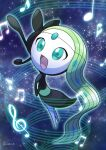 commentary_request creature enishi_(menkura-rin10) full_body gen_5_pokemon green_eyes green_hair highres long_hair meloetta meloetta_(aria) music musical_note mythical_pokemon no_humans open_mouth pokemon pokemon_(creature) pose signature singing sky solo star_(sky) starry_sky