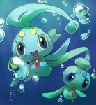 :d :o air_bubble blue_eyes blue_theme bubble commentary creature english_commentary full_body gen_4_pokemon happy looking_at_viewer manaphy mythical_pokemon no_humans open_mouth phione pinkgermy pokemon pokemon_(creature) signature smile underwater water