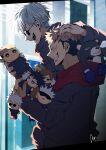 2boys :d ^_^ agt_(hoshigumi_80) black_hair black_jacket brown_hair closed_eyes facial_mark fushiguro_megumi gakuran gojou_satoru grin hand_on_another's_head highres holding holding_stuffed_toy hood hood_down hoodie itadori_yuuji jacket jujutsu_kaisen kugisaki_nobara long_sleeves male_focus multiple_boys nanami_kento open_mouth profile red_hoodie round_eyewear school_uniform short_hair smile spiky_hair stuffed_toy sunglasses undercut upper_body white_hair