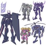 1girl 4boys beast_machines blackshadow bludgeon claws clenched_hands decepticon english_commentary galvatron genderswap genderswap_(mtf) holding holding_sword holding_weapon insignia mecha multiple_boys no_humans obsidian_(transformers) propeller red_eyes redesign standing strika sword theamazingspino transformers violet_eyes weapon