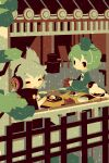 2girls architecture bird black_eyes blonde_hair blush cape chopsticks cross-laced_clothes cup dress earmuffs east_asian_architecture green_dress green_hair hat holding holding_cup multiple_girls plate pouring shinonoko short_hair sitting soga_no_tojiko table tate_eboshi tea teapot touhou toyosatomimi_no_miko