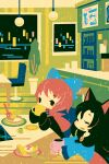 2girls animal_ears animal_print black_dress black_eyes blue_bow blue_dress blush bow brooch brown_hair cake cake_slice capelet cat_print chair closed_eyes cup dress drinking eyebrows_visible_through_hair food fork hair_bow holding holding_cup imaizumi_kagerou jewelry long_hair looking_at_another mug multiple_girls open_mouth pancake plant plate potted_plant red_capelet redhead sekibanki shinonoko sitting table touhou wolf_ears